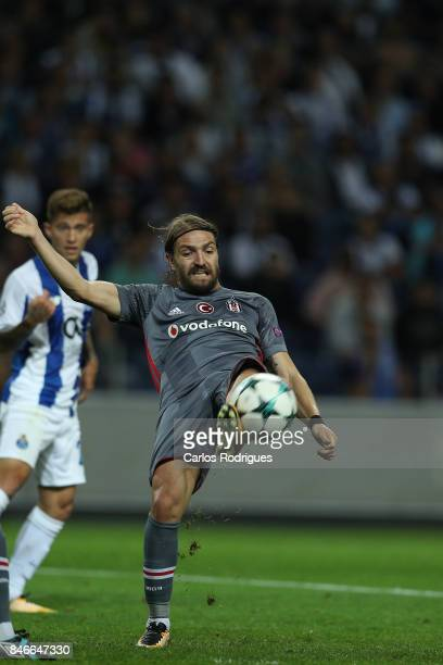 Besiktas defender Caner Erkin from Turkey kicks the ball away during the match between FC Porto v Besiktas JK for the UEFA Champions League at...