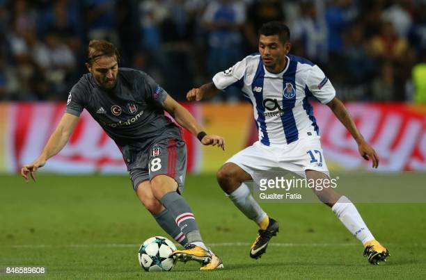 Besiktas defender Caner Erkin with FC Porto's forward Jesus Corona from Mexico in action during the UEFA Champions League match between FC Porto and...