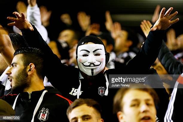 Besiktas fan cheers on his team during the UEFA Europa League Round of 32 match between Liverpool FC and Besiktas JK at Anfield on February 19 2015...