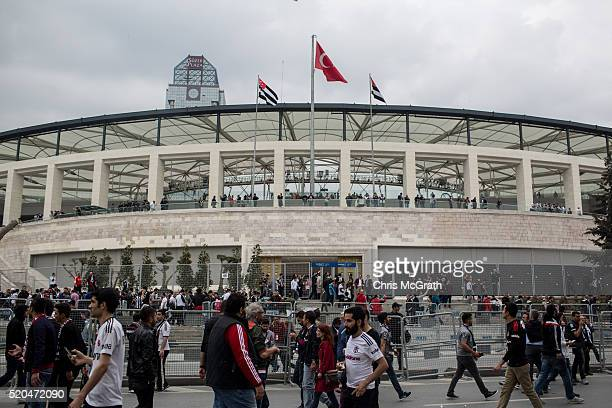 Besiktas fans arrive for the opening match of the new Vodafone Arena between Besiktas and Bursaspor on April 11 2016 in Istanbul Turkey The new...