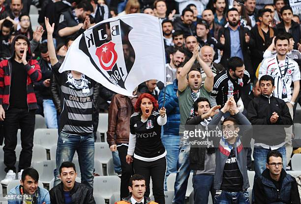 Besiktas fans before the Turkish Super League match between Besiktas and Fenerbahce at the Ataturk Olympic Stadium on April 20 2014 in IstanbulTurkey