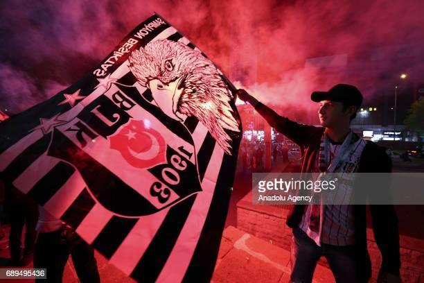 Besiktas fans celebrate after Besiktas won their 15th Turkish Spor Toto Super Lig title by defeating Gaziantepspor 40 in Ankara Turkey on May 28 2017