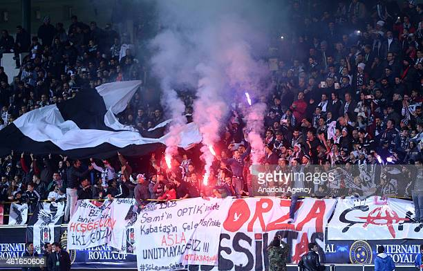 Besiktas fans cheer their team during the International Royal Cup 2015 soccer match between Besiktas and Guaratingueta at Alanya Oba stadium in...