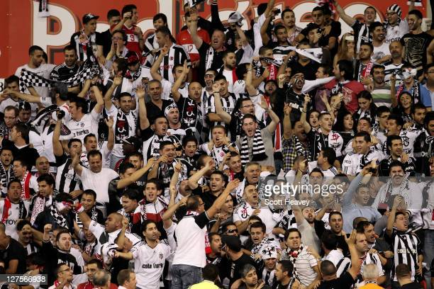 Besiktas fans show their support during the UEFA Europa League Group E match between Stoke City and Besiktas JK at the Britannia Stadium on September...