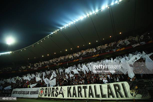 Besiktas fans show their support prior to the UEFA Europa League Round of 32 second leg match between Besiktas JK and Liverpool FC on February 26...