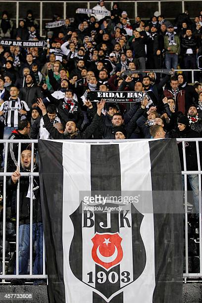 Besiktas fans support their team during the UEFA Europa League Group C soccer match between FK Partizan vs Besiktas JK at the FK Partizan stadium on...