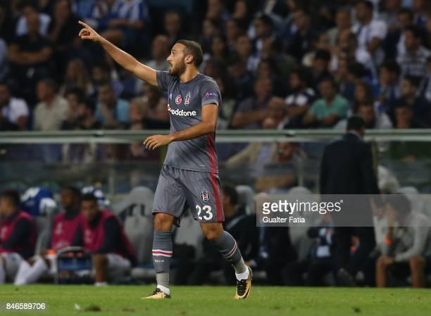 Besiktas forward Cenk Tosun celebrates after scoring a goal during the UEFA Champions League match between FC Porto and Besiktas JK at Estadio do...