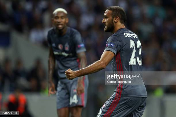 Besiktas forward Cenk Tosun celebrates scoring Besiktas second goal during the match between FC Porto v Besiktas JK for the UEFA Champions League...