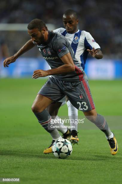 Besiktas forward Cenk Tosun from Turkey vies with FC Porto's defender Ricardo Pereira from Portugal for the ball possession during the match between...