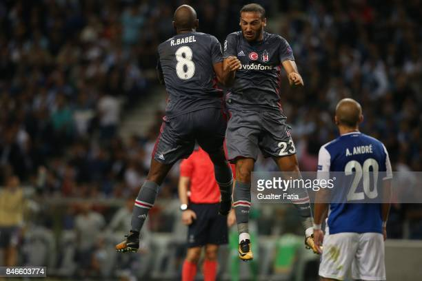 Besiktas forward Ryan Babel celebrates with teammate Besiktas forward Cenk Tosun from Turkey after scoring a goal during the UEFA Champions League...