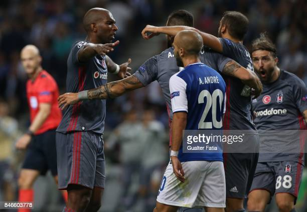 Besiktas forward Ryan Babel celebrates with teammates after scoring a goal during the UEFA Champions League match between FC Porto and Besiktas JK at...