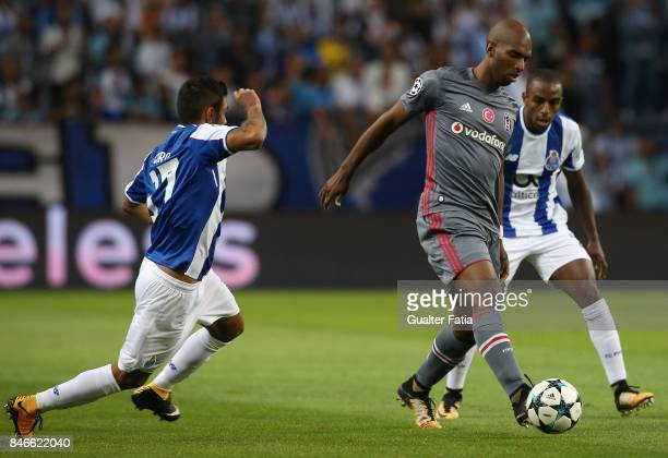 Besiktas forward Ryan Babel from Holland with FC Porto's defender Ricardo from Portugal and Jesus Corona in action during the UEFA Champions League...