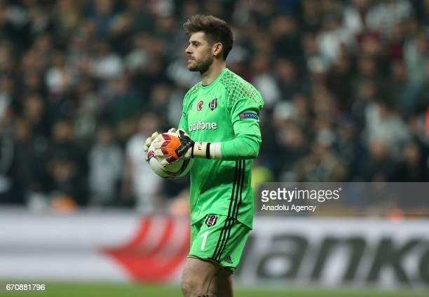 Besiktas goalkeeper Fabri dejected after losing the penalty shootout against Olympique Lyonnais during the UEFA Europa League quarter final second...