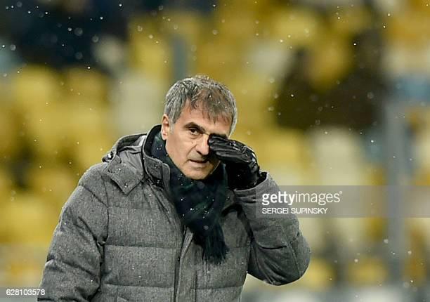 Besiktas' head coach Senol Günes reacts during the UEFA Champions League football match between FC Dynamo Kyiv and Besiktas at the Olympiyski Stadium...