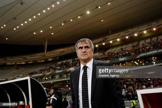 Besiktas' head coach Senol Gunes during the UEFA Europa League group H football match between Besiktas and Lokomotiv Moscow at the Ataturk Olympic...