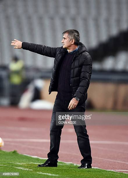 Besiktas' head coach Senol Gunes gestures during the UEFA Europa League football match between Besiktas and Skenderbeu at the Ataturk Olympic stadium...