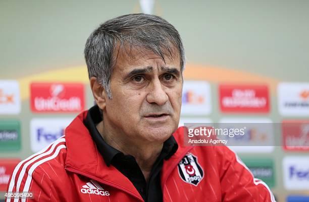 Besiktas' head coach Senol Gunes holds a press conference in Istanbul Turkey on November 04 2015 Besiktas will face FC Lokomotiv Moscow in the UEFA...
