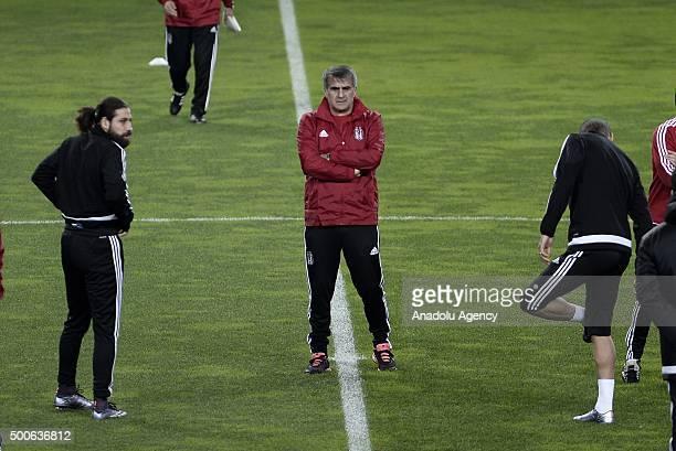 Besiktas' head coach Senol Gunes leads a training session at the Jose Alvalade Stadium in Lisbon Portugal on December 09 2015 Besiktas will play...