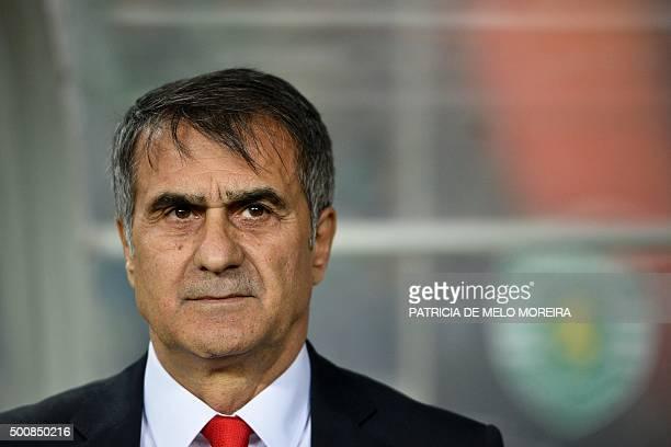Besiktas' head coach Senol Gunes looks on moments before the UEFA Europa League football match Sporting Club de Portugal vs Besiktas JK at the Jose...
