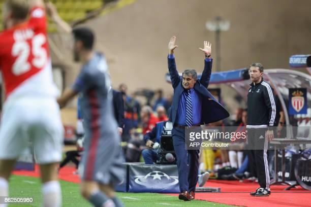 Besiktas' head coach Senol Gunes reacts during the UEFA Champions League group stage football match between Monaco and Besiktas on October 17 2017 in...