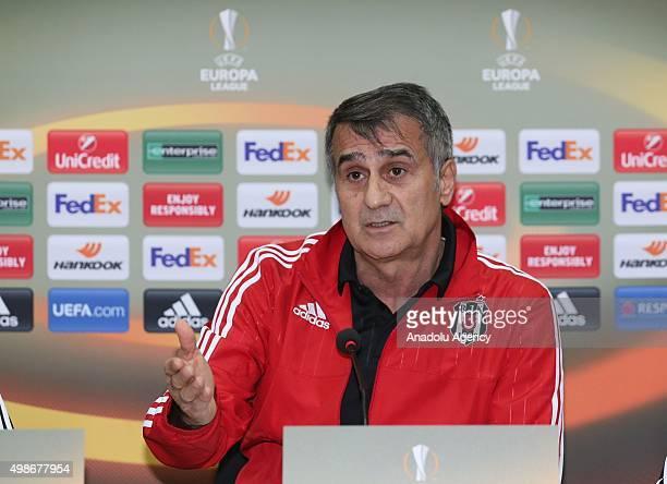 Besiktas' head coach Senol Gunes speaks during a press conference at the BJK Nevzat Demir Facilities in Istanbul Turkey on November 25 2015 Besiktas...
