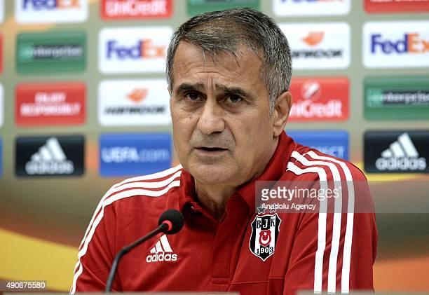 Besiktas' head coach Senol Gunes speaks during a press conference ahead of the UEFA Europa League Group H football match against Sporting CP in...
