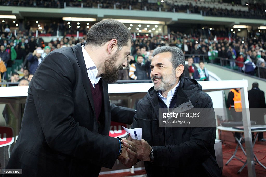 Besiktas' head coach <a gi-track='captionPersonalityLinkClicked' href=/galleries/search?phrase=Slaven+Bilic&family=editorial&specificpeople=1040506 ng-click='$event.stopPropagation()'>Slaven Bilic</a> (L) greets Torku Konyaspor's head coach <a gi-track='captionPersonalityLinkClicked' href=/galleries/search?phrase=Aykut+Kocaman&family=editorial&specificpeople=7156561 ng-click='$event.stopPropagation()'>Aykut Kocaman</a> (R) before the Turkish Spor Toto Super League football match between Torku Konyaspor and Besiktas in Konya, Turkey on December 28, 2014.