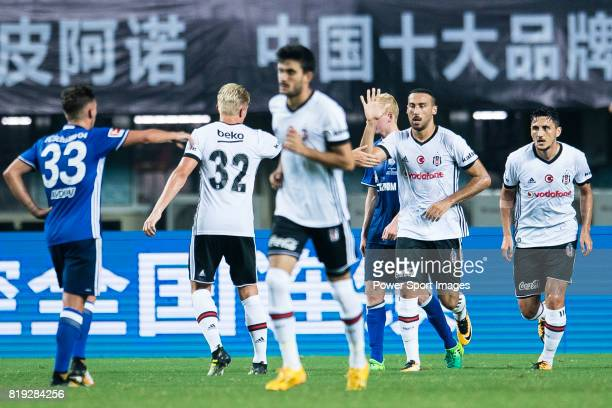 Besiktas Istambul Forward Cenk Tosun celebrates his goal with his teammates during the Friendly Football Matches Summer 2017 between FC Schalke 04...