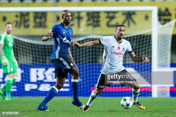 Besiktas Istambul Forward Cenk Tosun fights for the ball with FC Schalke Defender Naldo during the Friendly Football Matches Summer 2017 between FC...
