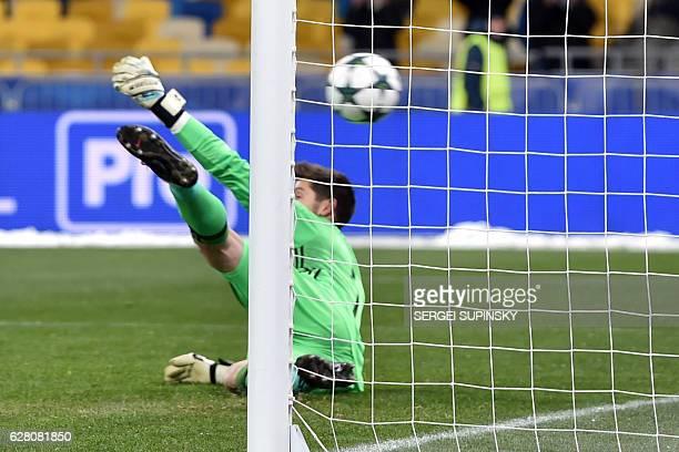 Besiktas JK's Goalkeeper Julien Fabri lost a penalty kick during the Champions League football match between FC Dynamo and Besiktas JK on December 6...