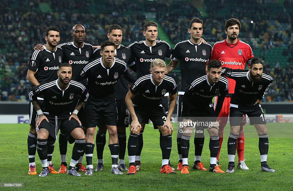 Besiktas JK's players pose for a team photo during the UEFA Europa League match between Sporting CP and Besiktas JK at Estadio Jose de Alvalade on...