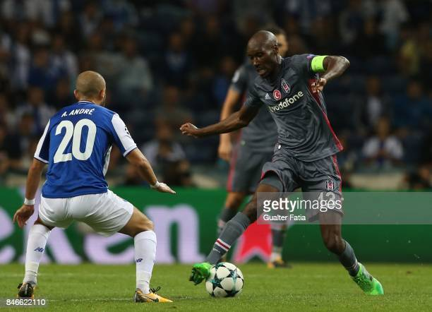 Besiktas midfielder Atiba Hutchinson from Canada with FC Porto's midfielder Andre Andre from Portugal in action during the UEFA Champions League...