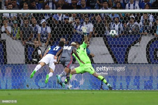 Besiktas' midfielder Talisca score a goal during the FC Porto v Besiktas UEFA Champions League Group G round one match at Dragao Stadium on September...