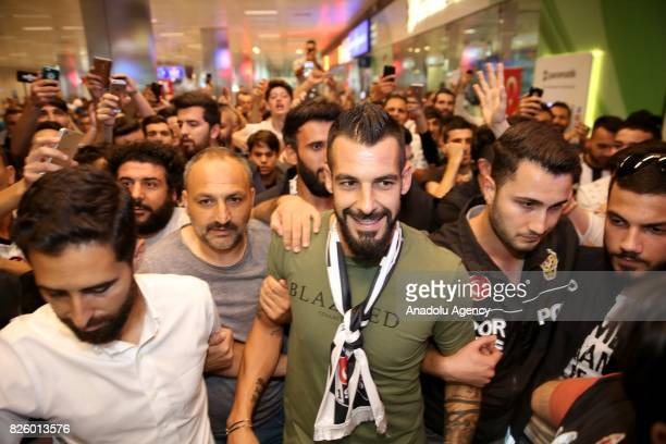 Besiktas' new transfer Alvaro Negredo is welcomed by Besiktas' fans as he arrives at Ataturk Airport in Istanbul Turkey on August 03 2017