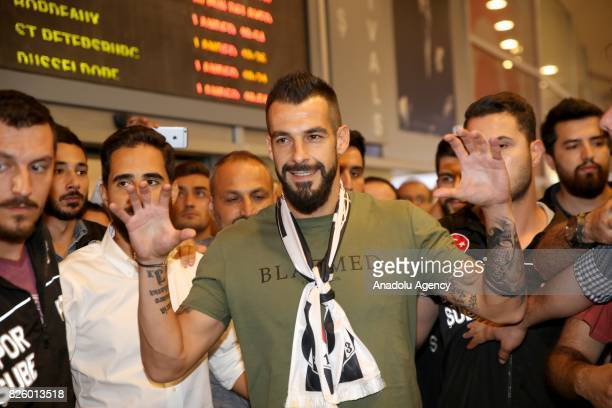 Besiktas' new transfer Alvaro Negredo poses for a photo as he arrives at Ataturk Airport in Istanbul Turkey on August 03 2017
