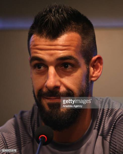 Besiktas' new transfer Alvaro Negredo Sanchez attends a press conference after the signing ceremony at Vodafone Park in Istanbul Turkey on August 04...
