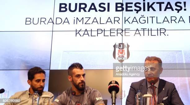 Besiktas' new transfer Alvaro Negredo Sanchez attends a signing ceremony with Besiktas' President Fikret Orman at Vodafone Park in Istanbul Turkey on...