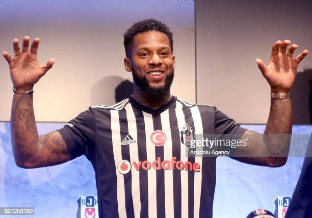 Besiktas' new transfer Jeremain Lens poses for a photo during a signing ceremony at Vodafone Park in Istanbul Turkey on August 07 2017