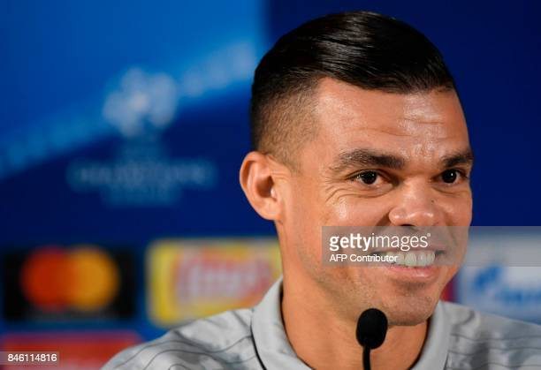 Besiktas' Portuguese defender Pepe attends a press conference on the eve of the UEFA Champions League Group G football match FC Porto vs Besiktas at...