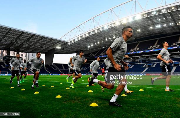 Besiktas' Portuguese defender Pepe takes part in a training session on the eve of the UEFA Champions League Group G football match FC Porto vs...