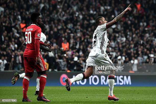Besiktas' Ricardo Quaresma celebrates with teammates after scoring a goal during the UEFA Champions League Group B football match between Besiktas...