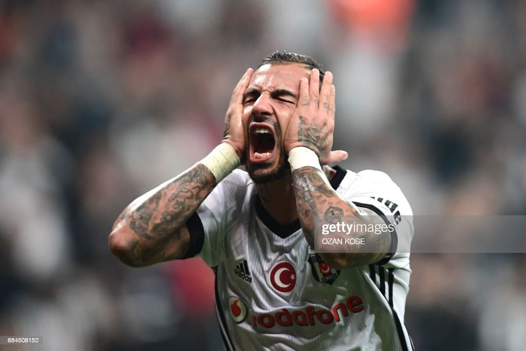 Besiktas' Ricardo Quaresma reacts after missing a goal during the Turkish Super Lig football match between Besiktas and Galatasaray on December 2, 2017 at Vodafone Park Stadium in Istanbul. /