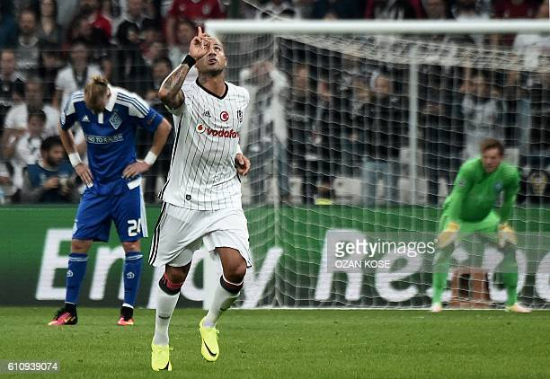 Besiktas` Ricardo Quaresma reacts after scoring a goal during the UEFA Champions League football match Besiktas versus Dynamo Kiev at the Vodafone...