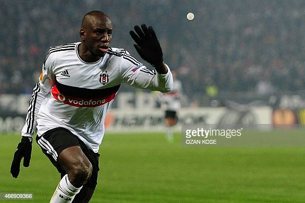 Besiktas' Senegalese forward Demba Ba reacts during the UEFA Europa League round of 16 football match between Club Brugge and Besiktas at Ataturk...