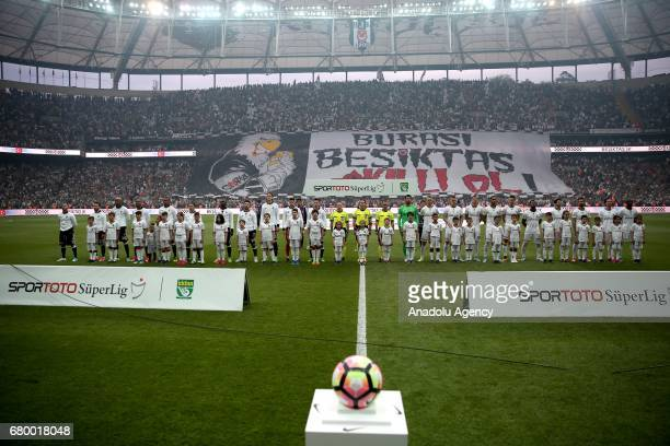 Besiktas supporters unleash a huge banner prior to the Turkish Spor Toto Super Lig soccer match between Besiktas and Fenerbahce at Vodafone Arena in...