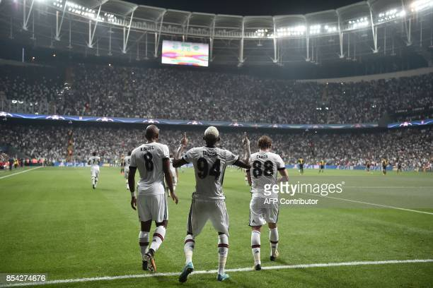 Besiktas' Talisca celebrates after scoring a goal during the UEFA Champions League group G football match between Besiktas and RB Leipzig at Vodafone...