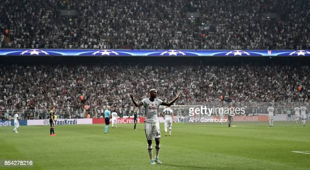 Besiktas` Talisca celebrates after scoring during the UEFA Champions League group G football match between Besiktas and RB Leipzig at Vodafone Park...