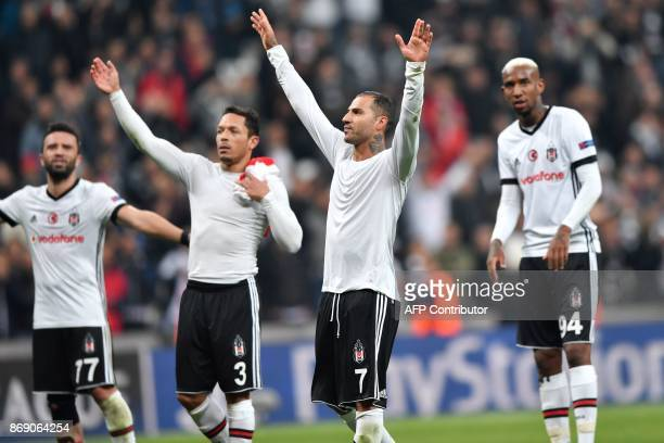 Besiktas' Turkish defender Gokhan Gonul Besiktas' Brazilian defender Adriano Correia Besiktas' Portuguese midfielder Ricardo Quaresma and Besiktas'...