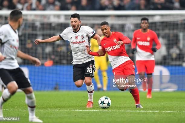 Besiktas' Turkish midfielder Tolgay Arslan vies with Monaco's Belgian midfielder Youri Tielemans during the UEFA Champions League Group G football...