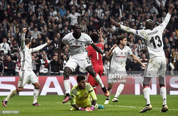 TOPSHOT Besiktas' Vincent Aboubakar celebrates after scoring a goal during the UEFA Champions League Group B football match between Besiktas Istanbul...